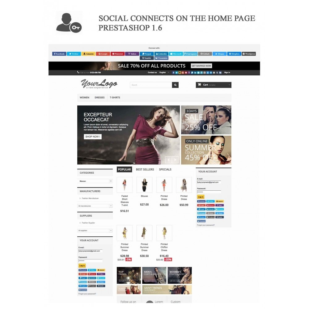 bundle - Login/Connessione - Pack: Blog PRO, Social Connects, Product Reviews - 16