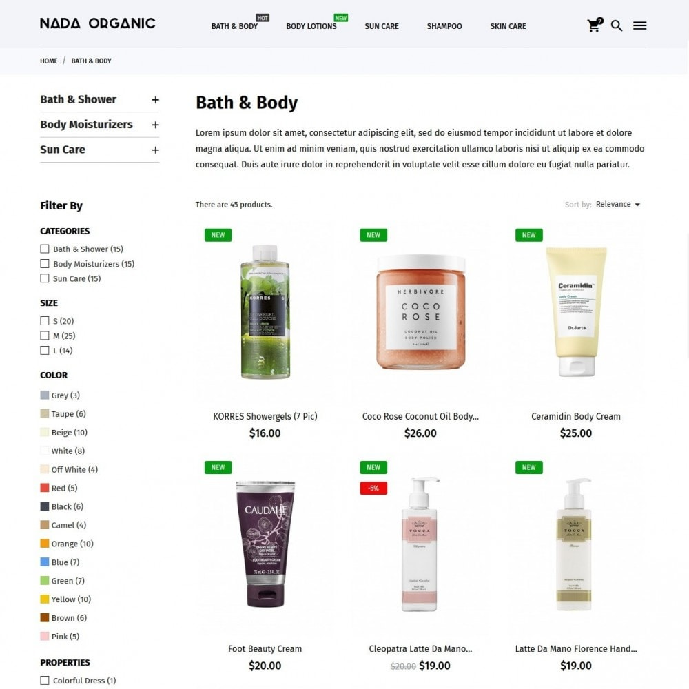 theme - Salud y Belleza - Nada Organic - 5