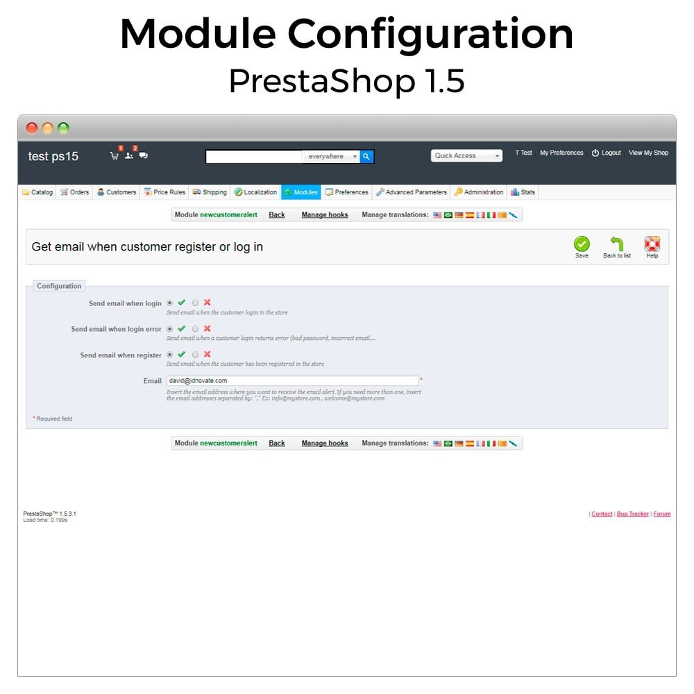 module - Notifications & Automatic Emails - Get email when customer register or login - 4