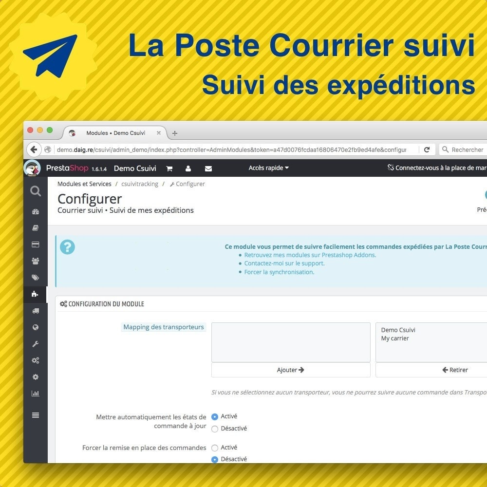 La poste suivi de mes exp ditions prestashop addons for Suivi de courrier temporaire