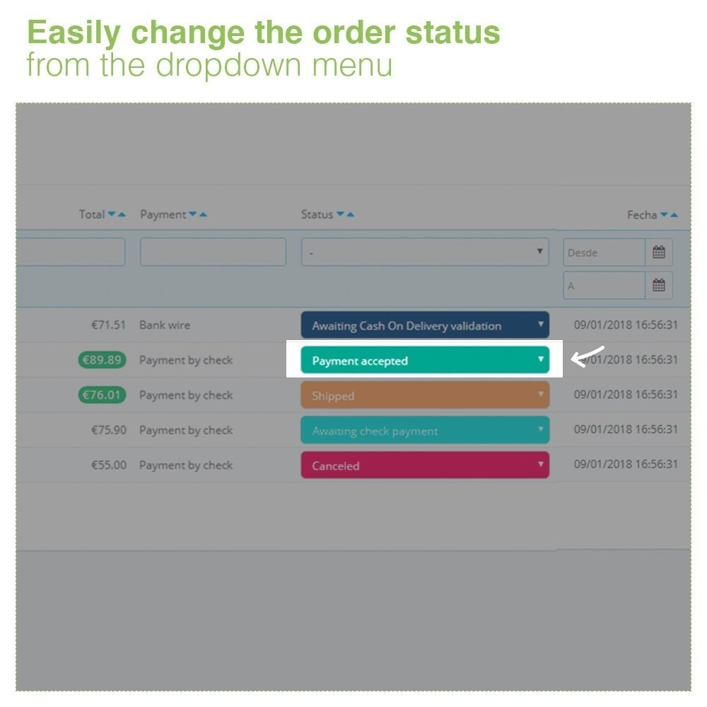 module - Order Management - Changing Order Status Directly from the Order List - 3