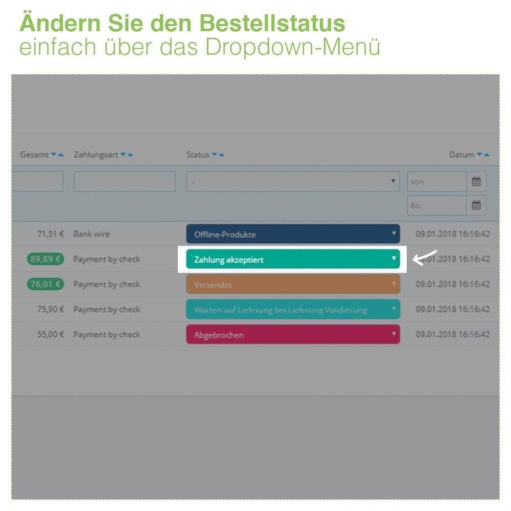 module - Auftragsabwicklung - Ändern des Bestellstatus direkt aus der Bestellliste - 3